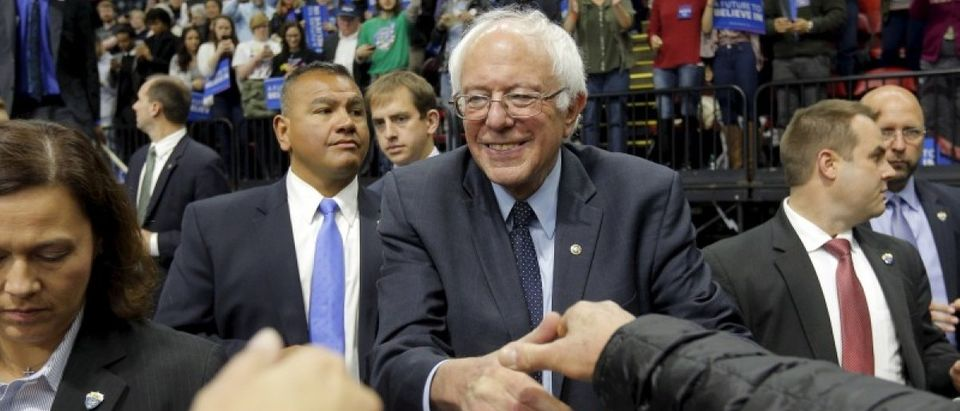 U.S. Democratic presidential candidate and U.S. Senator Bernie Sanders greets audience members at a campaign rally in Binghamton, New York April 11, 2016. (REUTERS/Brian Snyder)