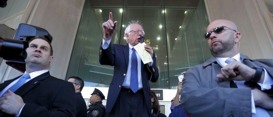 U.S. Democratic presidential candidate and U.S. Senator Bernie Sanders speaks to Communications Workers of America (CWA) workers striking against Verizon in Brooklyn