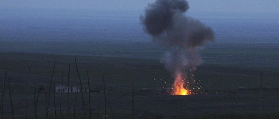 Smoke from fire rises above the ground in Martakert province, after an unmanned military air vehicle was shot down by the self-defense army of Nagorno-Karabakh according to Armenian media, during clashes over the breakaway Nagorno-Karabakh region