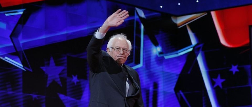 Bernie Sanders waves as he arrives to attend a Democratic debate hosted by CNN and New York One at the Brooklyn Navy Yard in New York April 14, 2016. REUTERS/Brian Snyder