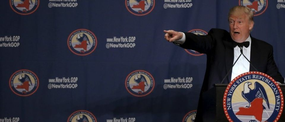 Republican U.S. presidential candidate Donald Trump speaks at the 2016 New York State Republican Gala in New York