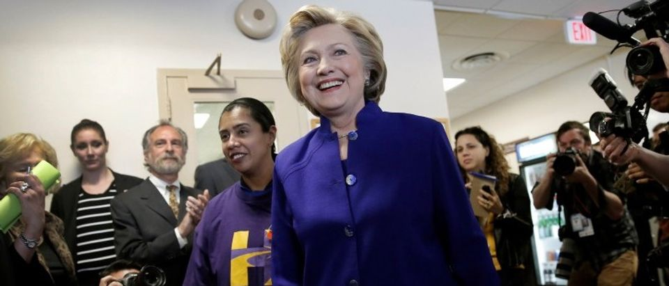 Democratic U.S. presidential candidate Hillary Clinton arrives to greet hospital workers at the St. John's Riverside Hospital during a campaign stop in Yonkers