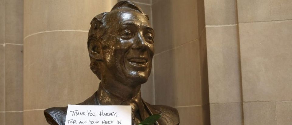 A thank you note and two roses are seen on a bust of former San Francisco Supervisor and gay rights pioneer Harvey Milk in San Francisco City Hall in San Francisco