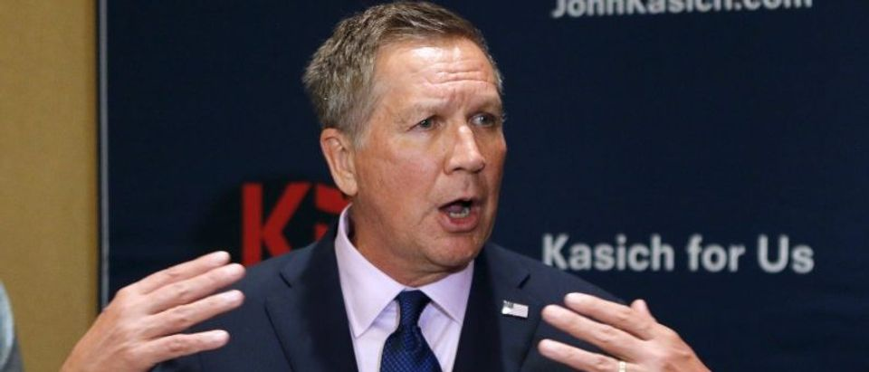 U.S. Republican presidential candidate and Ohio Governor Kasich speaks at a media event during the Republican National Committee Spring Meeting in Florida