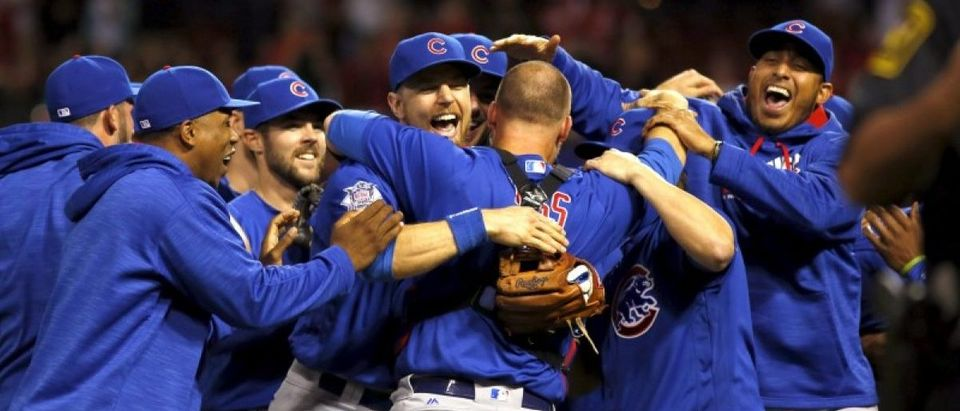 Apr 21, 2016; Cincinnati, OH, USA; Chicago Cubs celebrate after starting pitcher Jake Arrieta threw a no-hitter against the Cincinnati Reds at Great American Ball Park. The Cubs won 16-0. Mandatory Credit: David Kohl-USA TODAY Sports