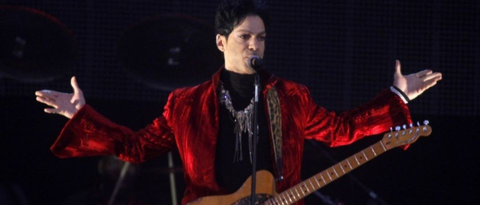 U.S. musician Prince performs on main stage during Budapest's Sziget music festival on an island in the Danube River