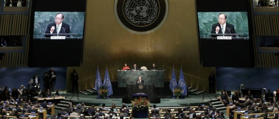 Ban Ki-moon, Secretary-General of the United Nations, delivers his opening remarks at the Paris Agreement signing ceremony on climate change at the United Nations Headquarters in New York