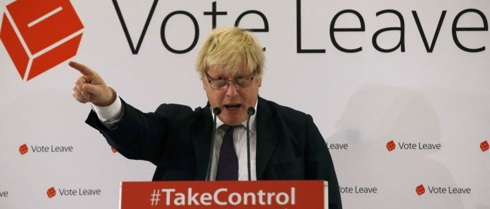 London Mayor Boris Johnson speaks at a Vote Leave rally in Newcastle
