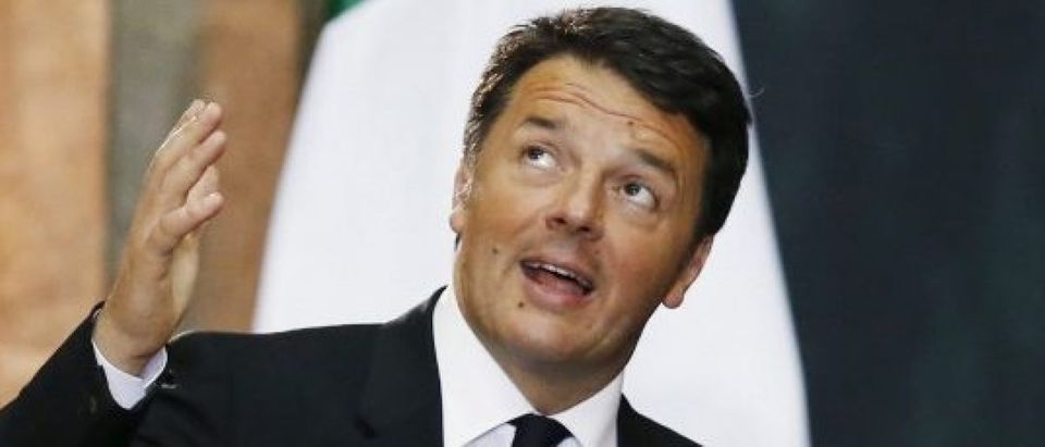 Italy's Prime Minister Matteo Renzi delivers a speech during a welcome ceremony at the National Palace in Mexico City