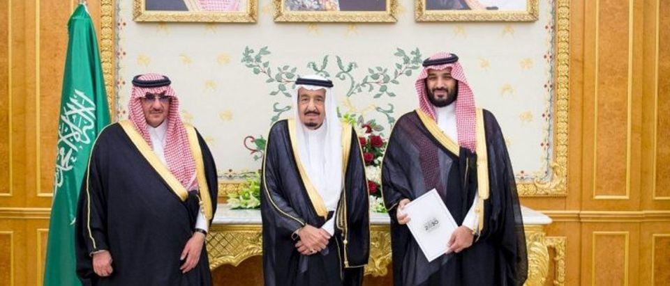 (L-R) Saudi Crown Prince Mohammed bin Nayef, Saudi King Salman, and Saudi Arabia's Deputy Crown Prince Mohammed bin Salman stand together after Saudi Arabia's cabinet agreed to implement a broad reform plan known as Vision 2030 in Riyadh, April 25, 2016. REUTERS/Saudi Press Agency/Handout via Reuters