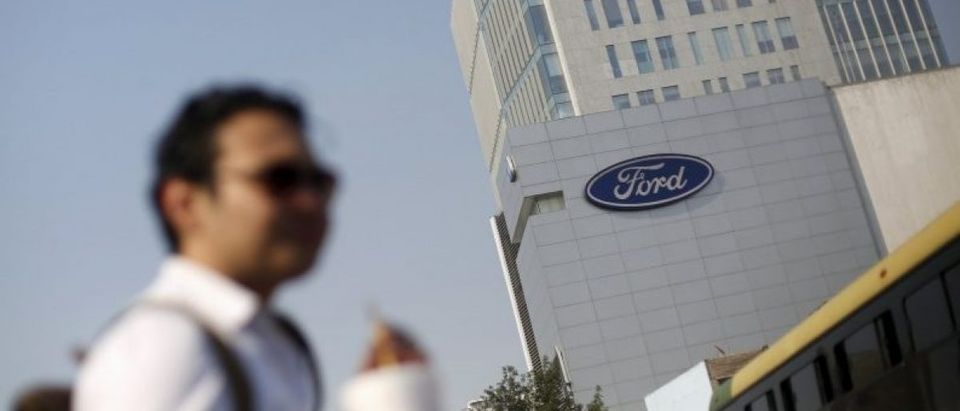 The logo of Ford is pictured near a sales store of the automaker in Mexico City, Mexico