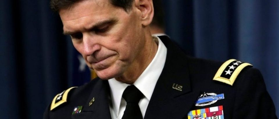 U.S. Army General Joseph Votel, commander, U.S. Central Command, arrives to brief the media at the Pentagon in Washington