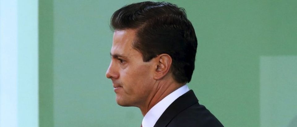 Mexico's President Pena Nieto is seen during announcing the government plans to legalize marijuana-based medicines, and proposed raising the amount of the drug that can be legally carried, in the wake of a national drug policy review, in Mexico City