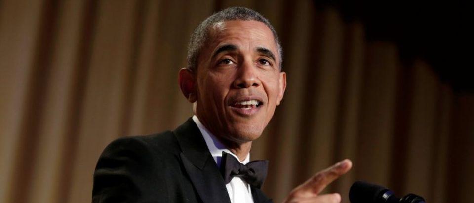 President Barack Obama speaks at the White House Correspondents' Association annual dinner in Washington