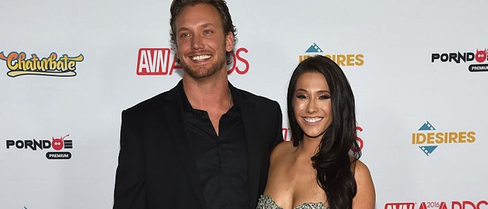 Erik Horbacz and adult film actress Eva Lovia attend the 2016 Adult Video News Awards at the Hard Rock Hotel & Casino on Jan. 23, 2016 in Las Vegas