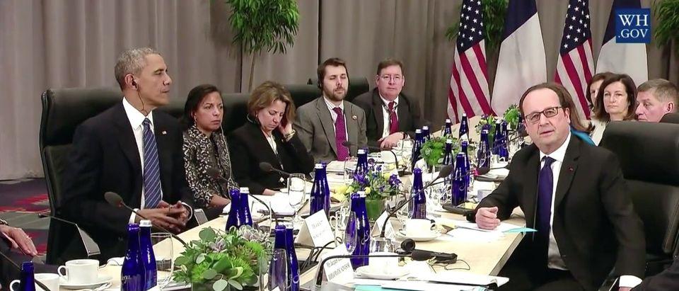 Barack Obama, Francois Hollande, Screen Shot YouTube, 4-1-2016