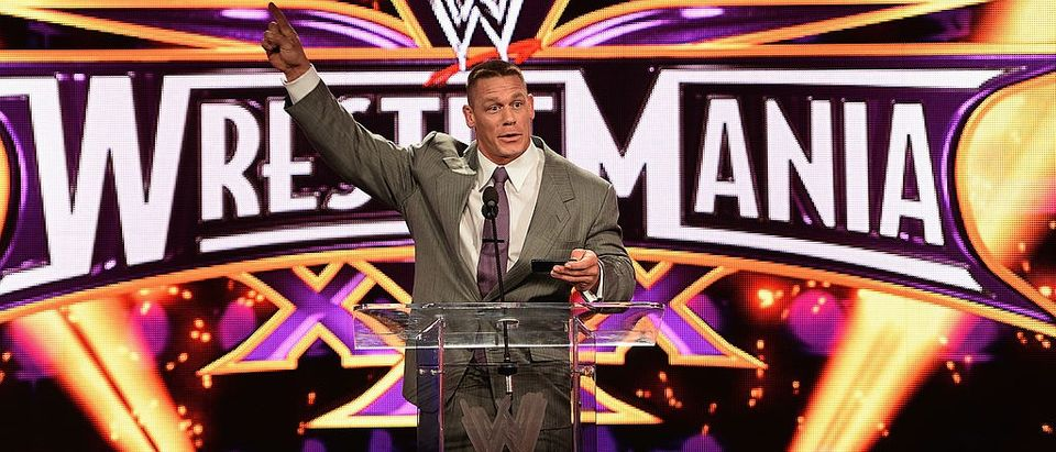 John Cena attends the WrestleMania 30 press conference at the Hard Rock Cafe New York on April 1, 2014 in New York City. (Photo by Dimitrios Kambouris/Getty Images)