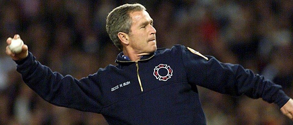 US President George W. Bush throws the ceremonial