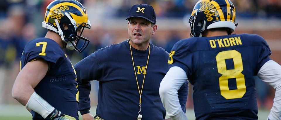 Watch Michigan's Jim Harbaugh -- A Patriot -- Sing The National Anthem With Gusto (Getty Images)