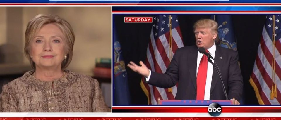 Hillary Clinton and Donald Trump, Screen Shot ABC, 4-17-2016