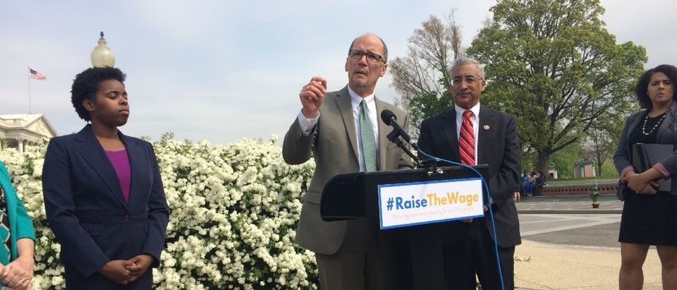 Labor Secretary Thomas Perez speaks for a higher minimum wage (Connor D. Wolf/TheDCNF)