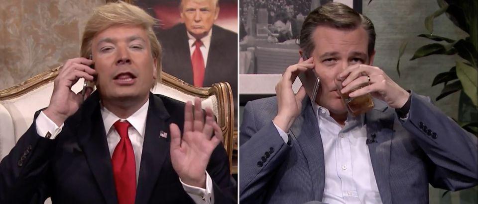 Jimmy Fallon, Ted Cruz Drinking, Screen Shot Tonight Show YouTube, 4-15-2016