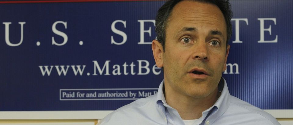 Kentucky Republican senatorial candidate Matt Bevin talks with his campaign supporters at his campaign headquarters in Louisville