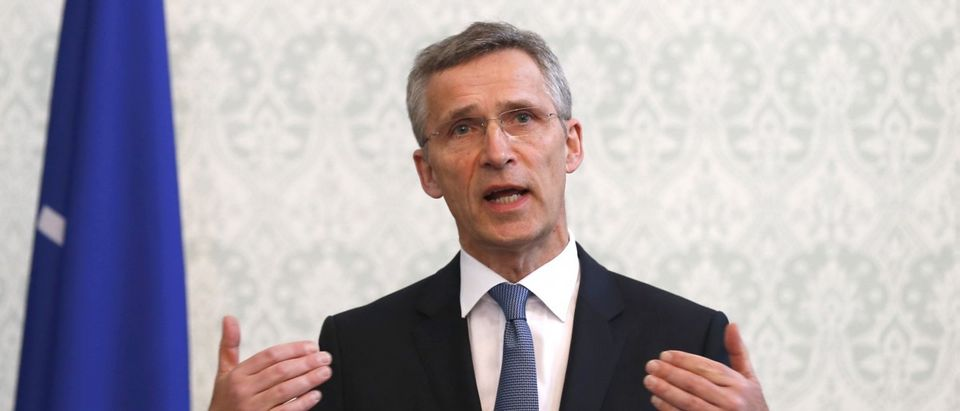 NATO Secretary General Jens Stoltenberg speaks during a news conference in Kabul, Afghanistan