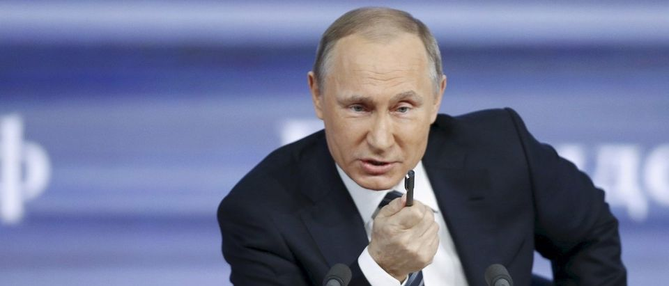File photo of Russian President Putin attending his annual end-of-year news conference in Moscow