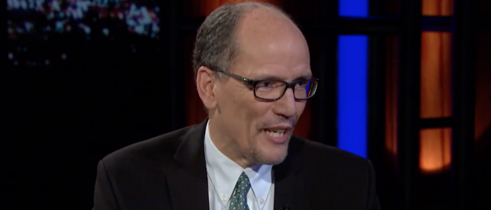 "Labor Secretary Thomas Perez on ""Real Time with Bill Maher."" April 8, 2016. (Youtube screen grab)"