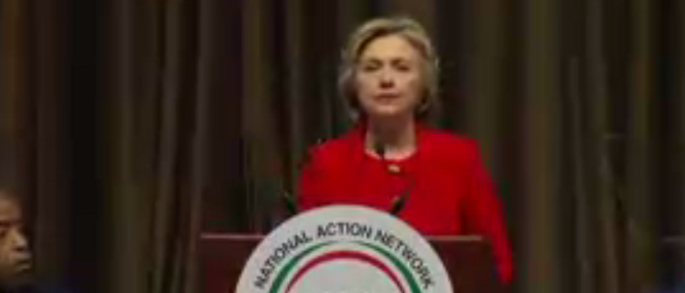Hillary Clinton speaks at National Action Network. April 13, 2016. (REUTERS Live feed)
