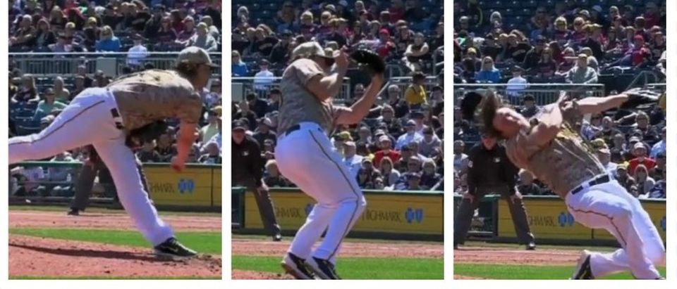 Pirates Pitcher Comes Inches From Losing An Eye-Eye (screenshots: Twitter)