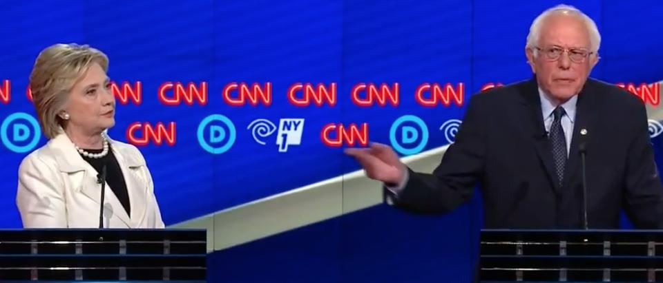 Hillary Clinton and Bernie Sanders debate, April 14, 2016. (Youtube screen grab)