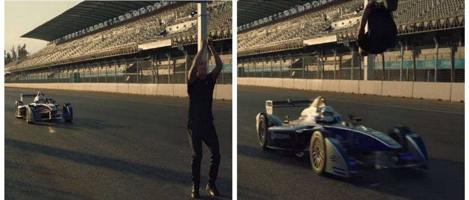 Nothing To See Here, Just Some Bro Doing A Blind Backflip Over A Frickin' Race Car (YouTube)
