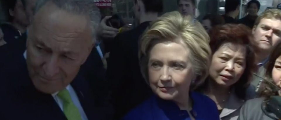 Hillary Clinton and Chuck Schumer in Queens, April 18, 2016. (Youtube screen grab)