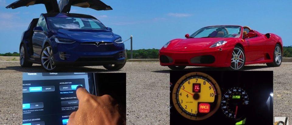 DRAG RACE: Tesla Model X Vs. Ferrari F430 ... Guess Who Wins (YouTube)