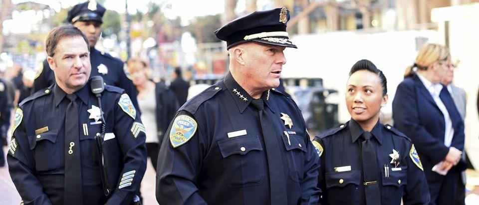 San Francisco Police Chief Greg Suhr walks through Super Bowl City in San Francisco