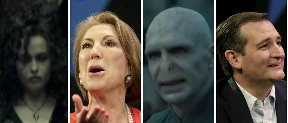 Ted Cruz, Carly Fiorina, Bellatrix Lestrange, Voldemort, Images via YouTube Screen shot and Reuters