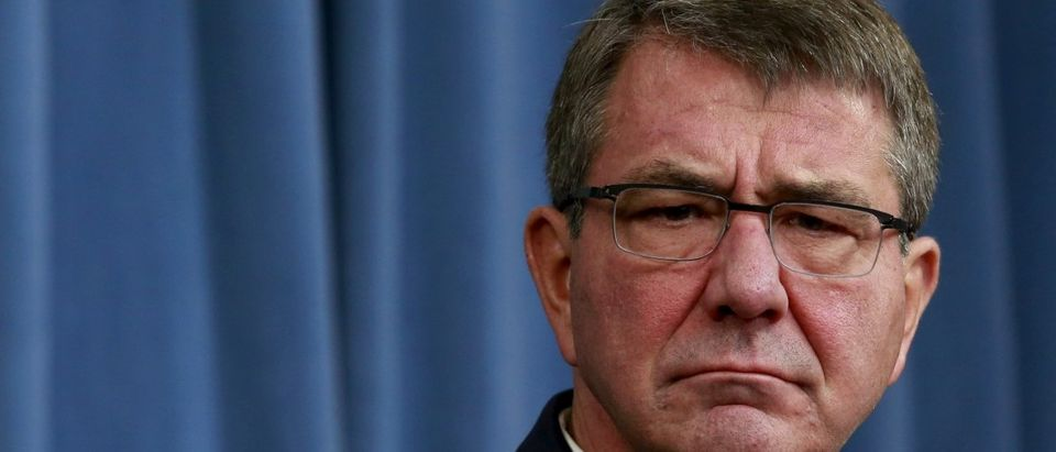 Defense Secretary Ash Carter attends a news conference