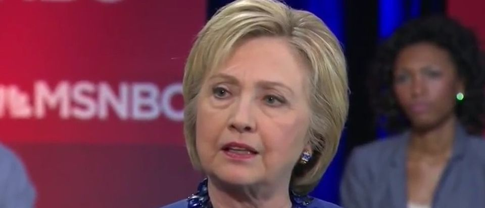 Hillary Clinton answers questions at MSNBC's town hall, April 25, 2016. (Youtube screen grab)