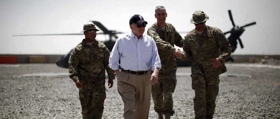 U.S. Secretary of Defense Robert Gates arrives at Combat Outpost Andar in Afghanistan