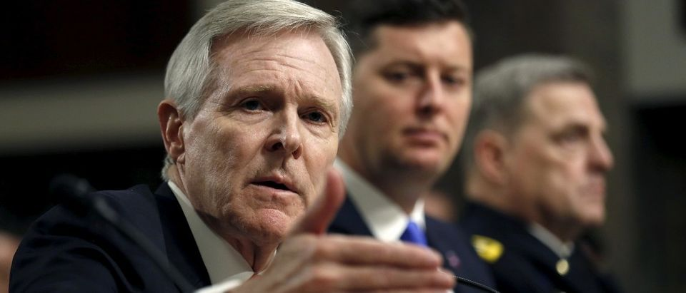 Mabus testifies at the Senate hearing about women deployed in ground combat units on Capitol Hill in Washington