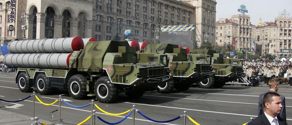 S-300 air defence mobile missile systems drive through Ukraine's Independence Day military parade in the centre of Kiev
