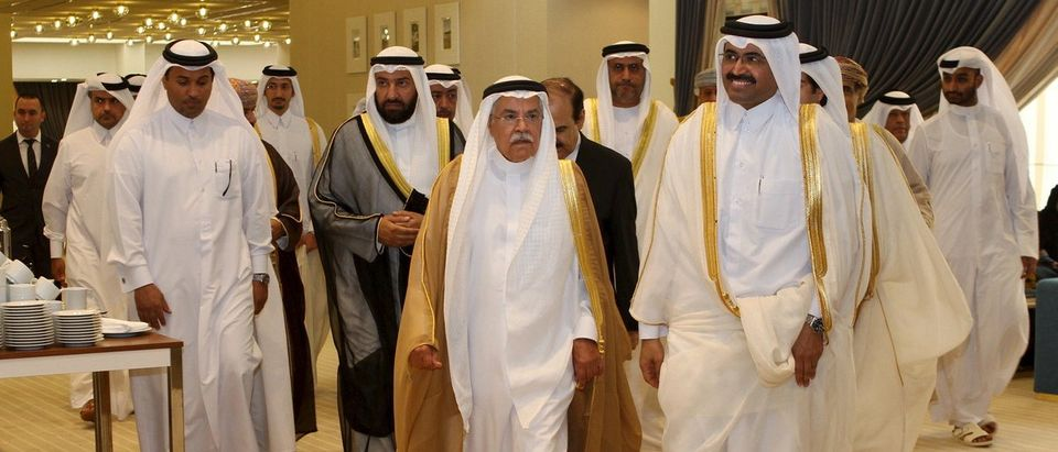 Qatar's Oil Minister al-Sada walks with Saudi Arabia's Oil Minister al-Naimi as they arrive for a meeting of Gulf states' oil ministers, in Doha