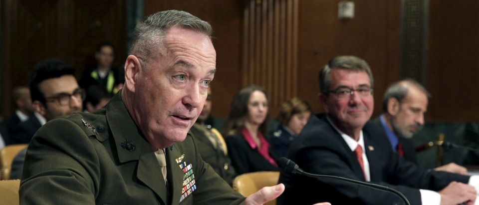 Joint Chiefs Chairman Joseph Dunford testifies with U.S. Defense Secretary Ash Carter before a Senate Appropriations Defense Subcommittee hearing on the Defense Department's FY2017 budget in Washington