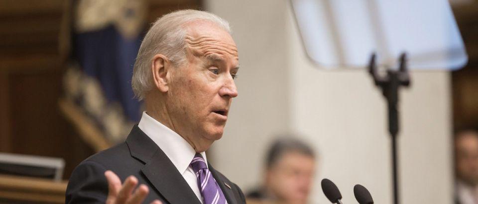 Biden speaks before an audience Kiev, Ukraine. Source: Drop of Light/Shutterstock