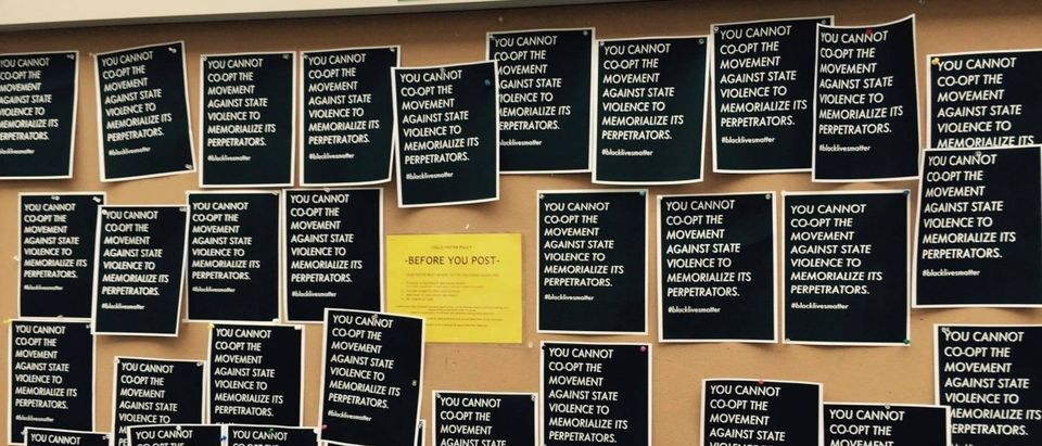 The Black Lives Matter display, erected in place of a pro-police display at Dartmouth College (Courtesy of Dartmouth Student)