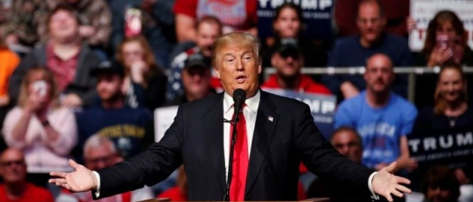 U.S. Republican presidential candidate Donald Trump speaks in Fort Wayne
