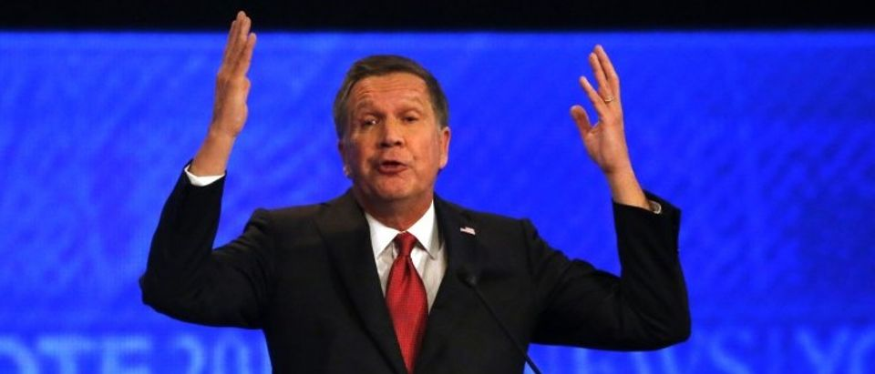 Republican U.S. presidential candidate Governor John Kasich speaks during the Republican U.S. presidential candidates debate sponsored by ABC News at Saint Anselm College in Manchester