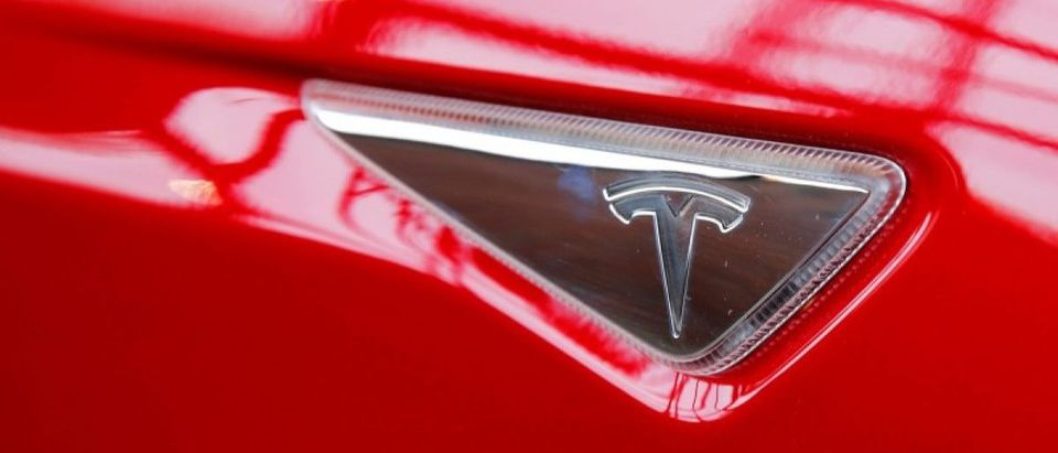 A Tesla logo on a Model S is photographed inside of a Tesla dealership in New York, U.S., April 29, 2016. REUTERS/Lucas Jackson/File Photo -